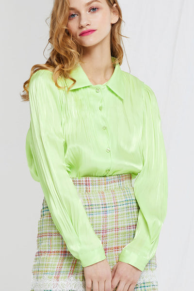Kendra Pleats Satin Blouse