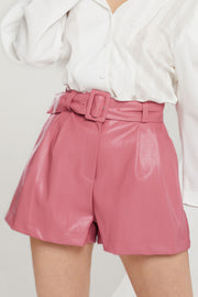 Kiersten Faux Leather Shorts w/ Belt