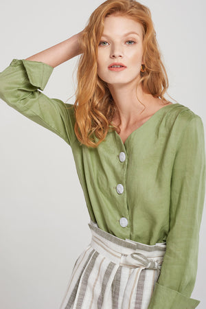 Kourtney Linen Button Blouse-Green