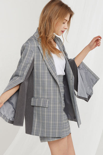 Kyra Plaid Jacket w/ Split Sleeve