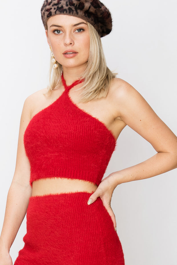 Laura Fuzzy Halter Top-2 Colors