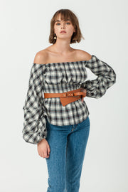 DOUBLE ICON - EASTSIDE OFF SHOULDER BLOUSE - OFF WHITE - Shop Double Icon