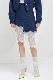 Cristie Lace Hem Denim Skirt