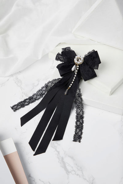 Lace Bow Tie Brooch