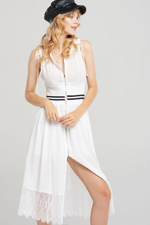 Lalia Waist Banded Zip-up Dress-2 Colors