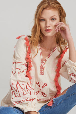 Lea Exotic Embroidery Blouse-Beige