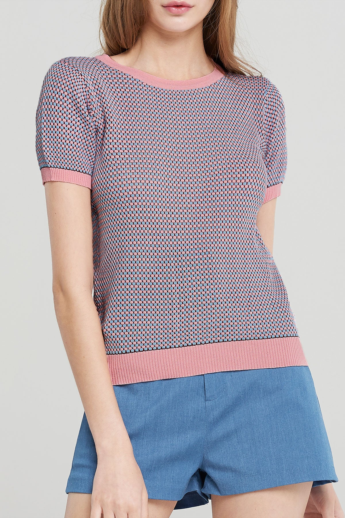 Leah Jacquard Knitted Top-Pink