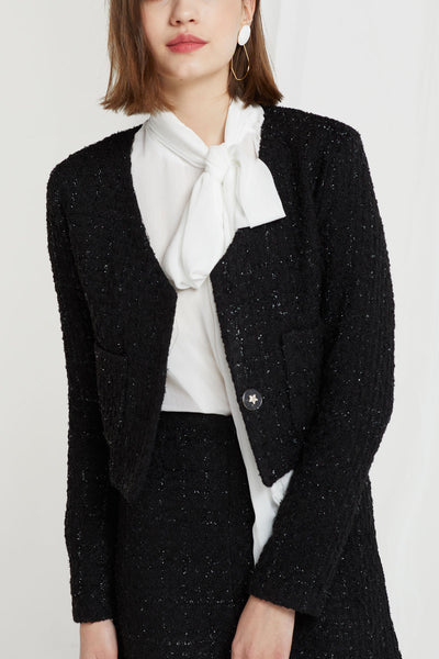 Lennon Collarless Tweed Crop Jacket