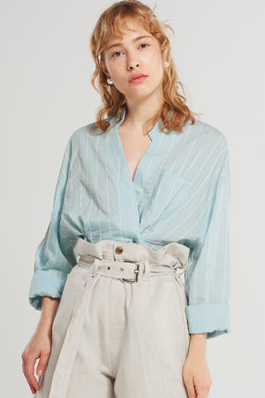 Lennon Loose Stripe Blouse-Skyblue