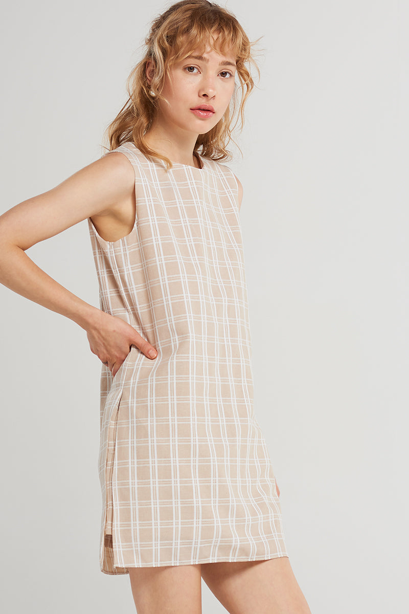 Leslie Double-check Romper Dress-Beige