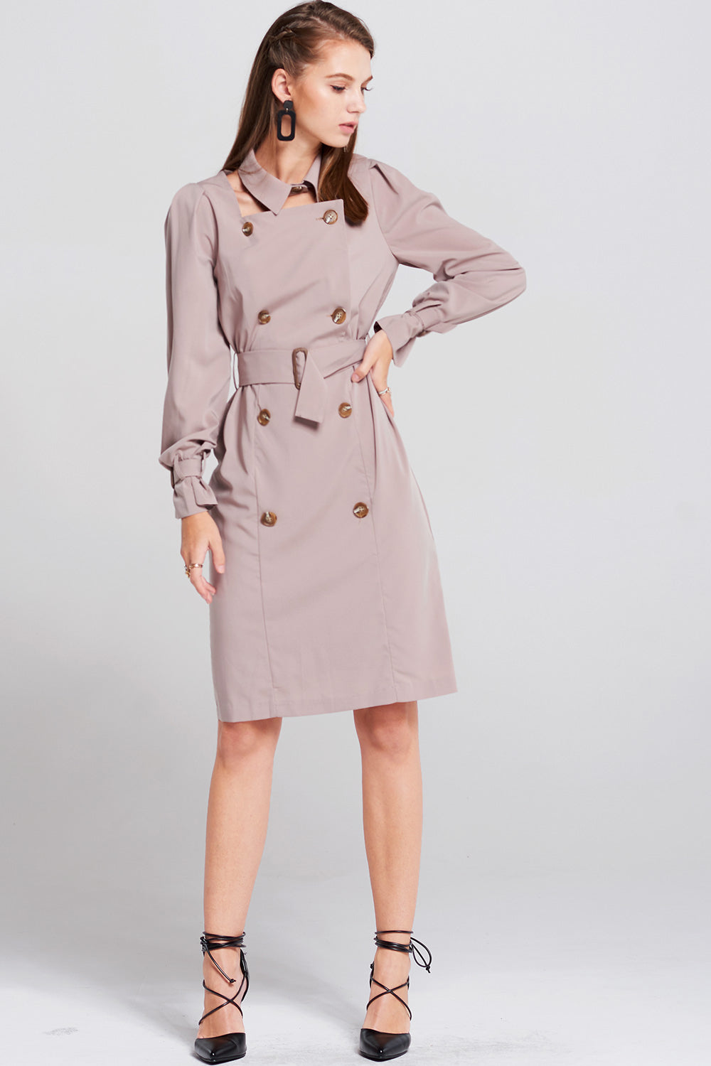 Linda Detachable Collar Trench Dress