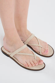 Linen Cross Toe Sandals-Beige