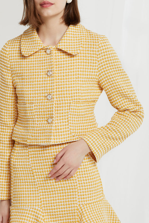 Liz Peter Pan Collar Jacket in Tweed