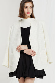 Luisa Textured Collarless Blazer in Tweed