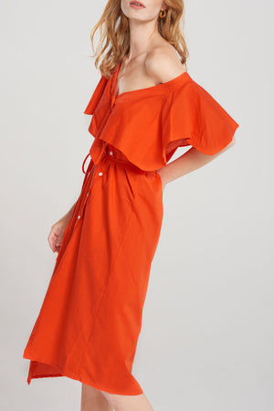 Lynn Off Shoulder Shirt Dress-Orange
