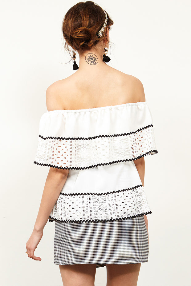 Maddy Lace Off-the-Shoulder Top