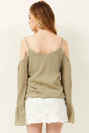 Feron Button Cold Shoulder Blouse