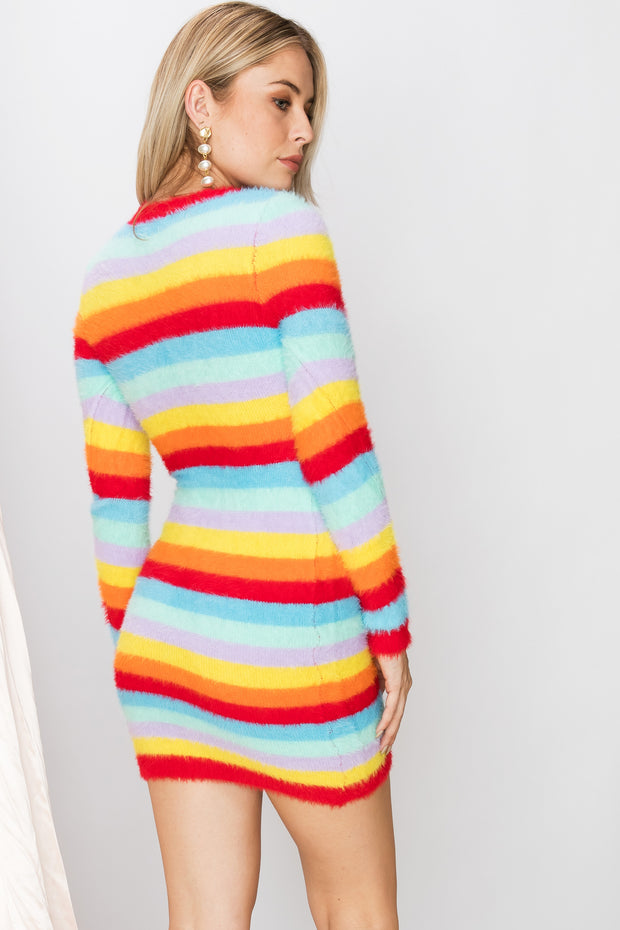 storets.com Miley Fuzzy Rainbow Dress