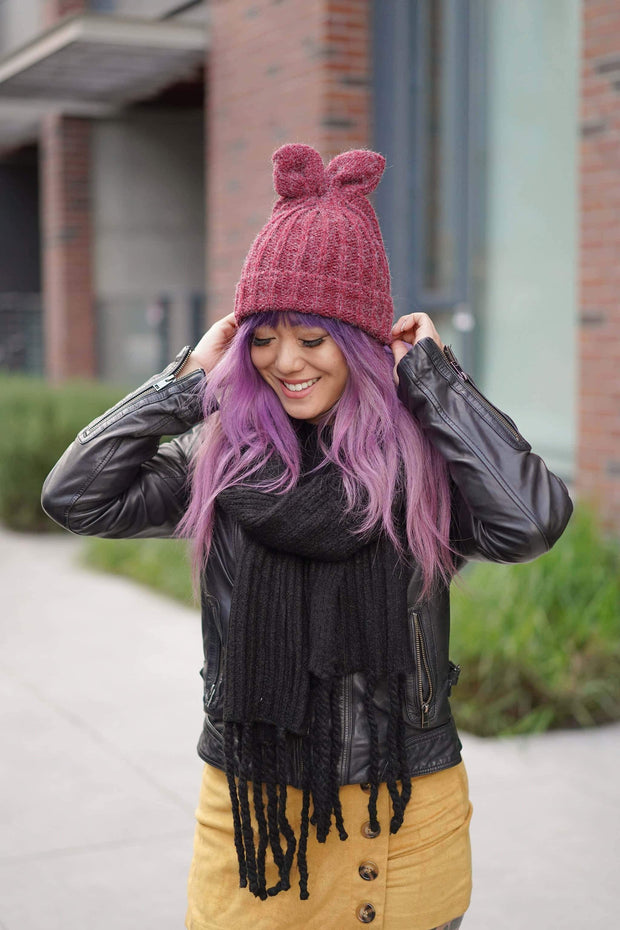 CYNTHIA LEU - FUNNY BUNNY BEANIE - BURGUNDY - Shop Double Icon