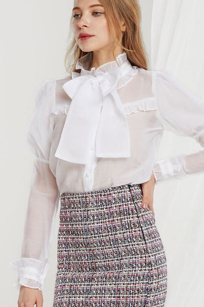 Mabel Juliet Sleeve Sheer Blouse