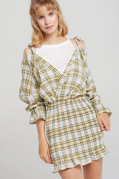 Madie Layered Plaid Shirred Bottom Dress