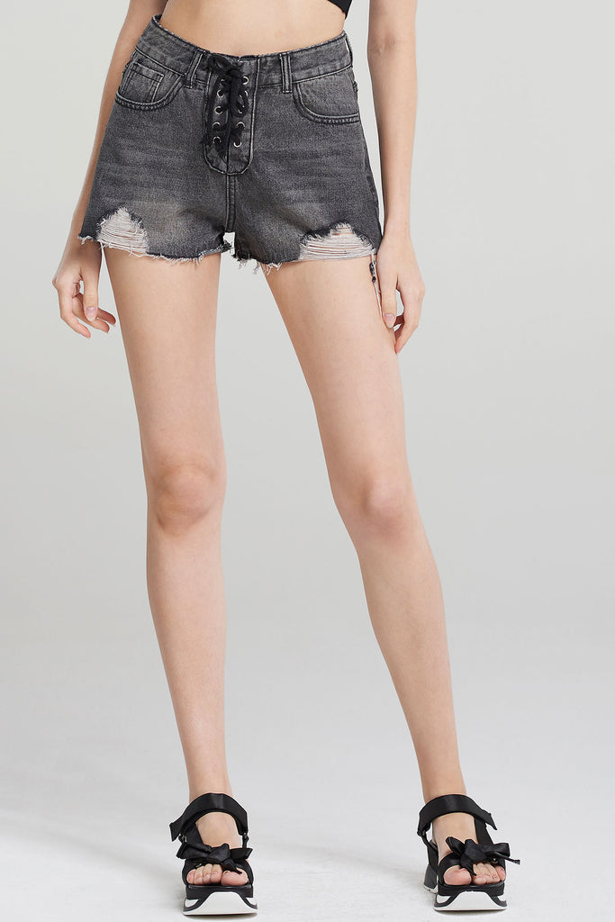 Madison Lace-up Distressed Shorts