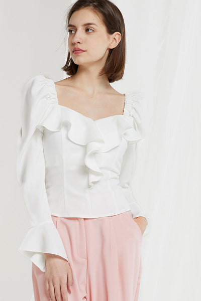 storets.com Maisia Square Neck Puff Sleeve Blouse-2 Colors