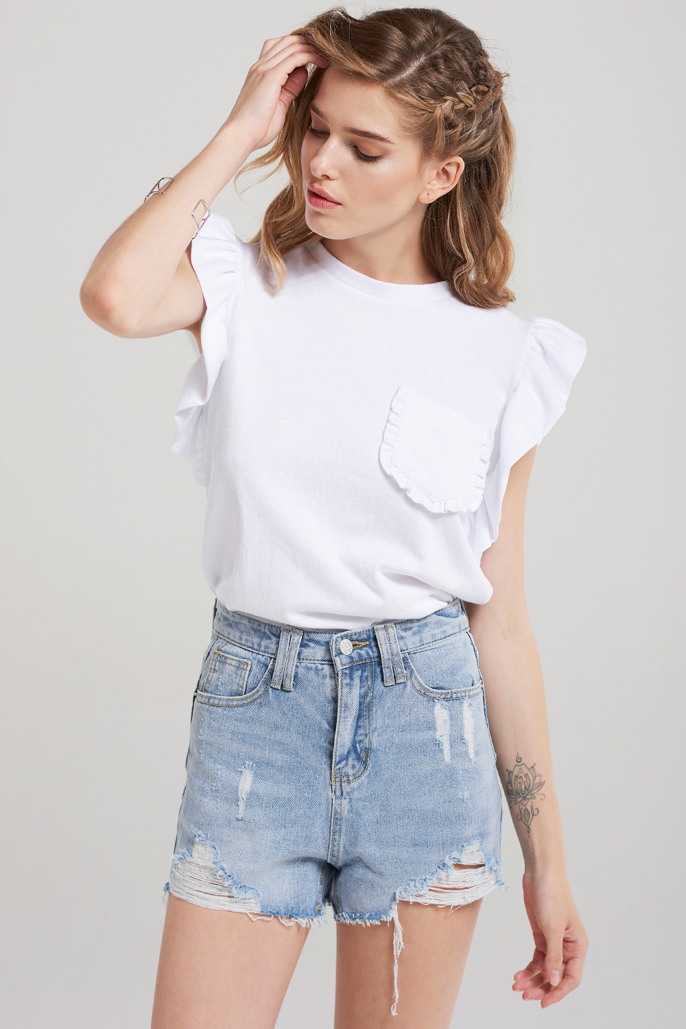 Maria Ruffle Sleeve Top-White