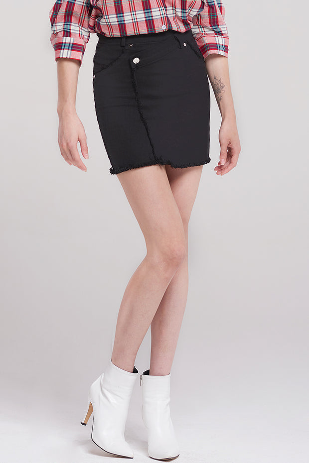 Maxim Tilted Seam Skirt-Black