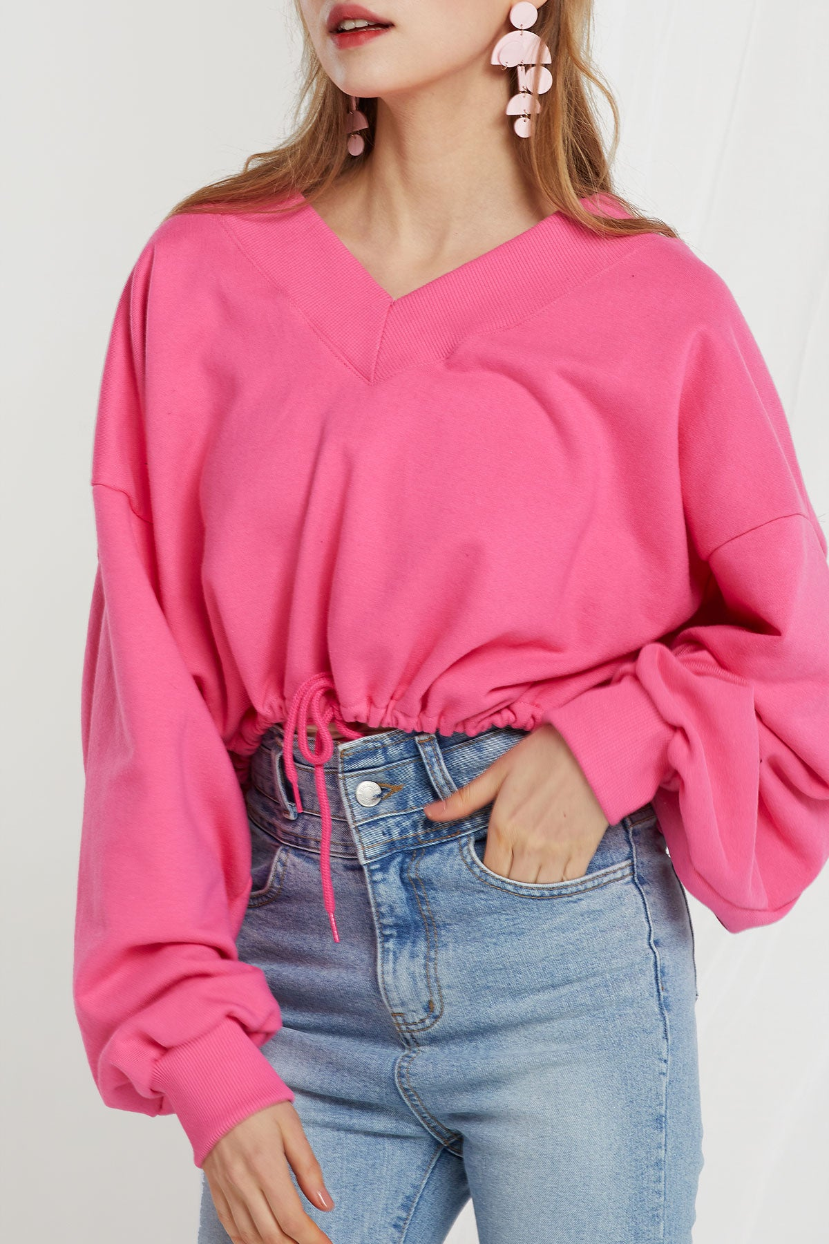 Millie V-Neck Crop Sweatshirt