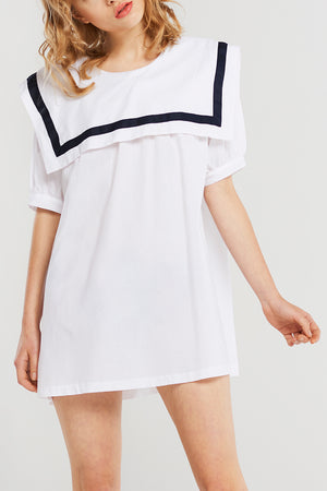 Milly Sailor Collar Dress-White