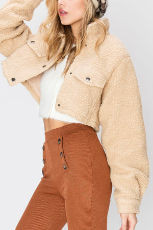 Mindy Cropped Teddy Jacket