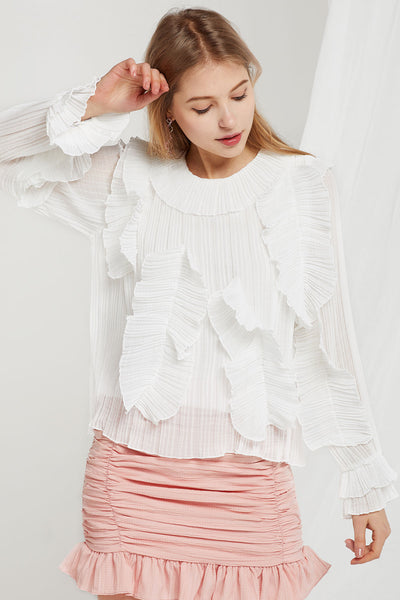 Molly Crinkled Ruffle Blouse