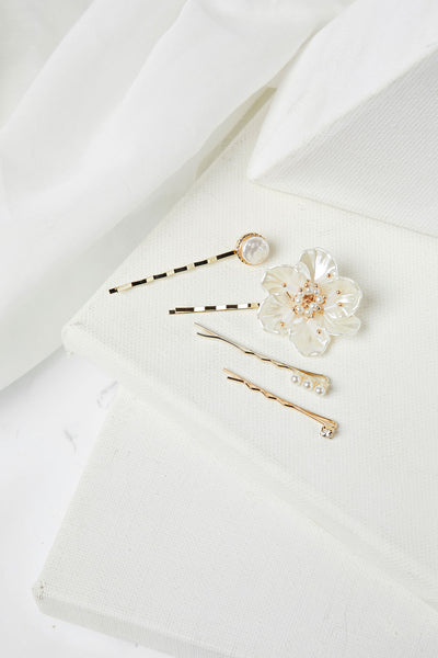 Nacre Flower Hair Pin Set
