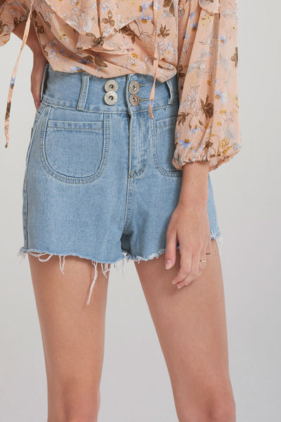 Natasha Round Pocket Denim Shorts-Blue