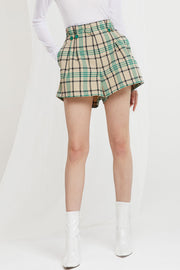 Nava Plaid Flare Shorts