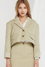 Nelly Notch Lapel Crop Jacket