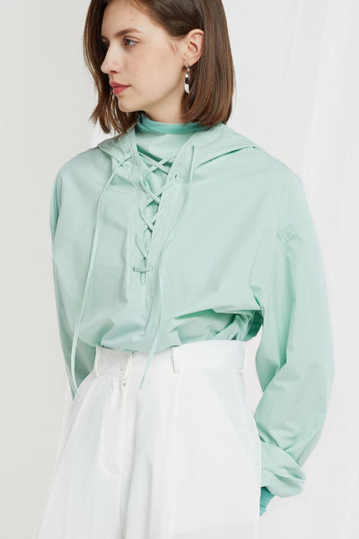 Odette Lace Up Hoodie Shirt