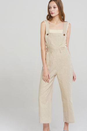 Olivia Square Strap Straight Jumpsuit-Beige