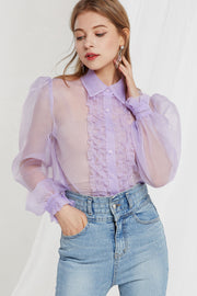 Ophelia Organza Front Frill Blouse