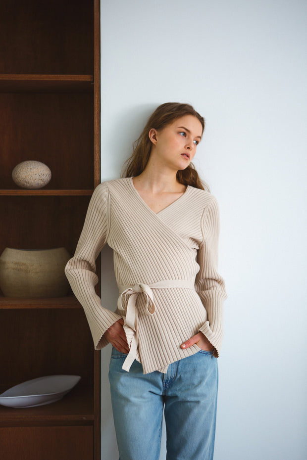[LETQSTUDIO] Cotton Crossover Knit_Beige