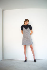 [LETQSTUDIO] Tweed Wrap Dress_Blue