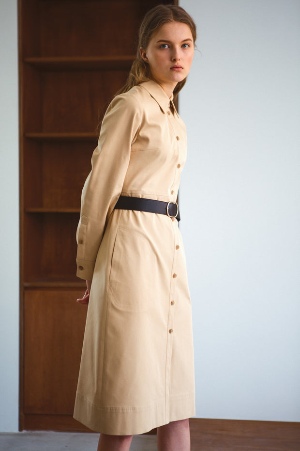 [LETQSTUDIO] Belted Shirt Dress_Brige