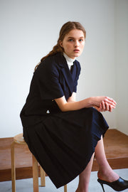 [LETQSTUDIO] Box Pleat Wool Skirt_Navy