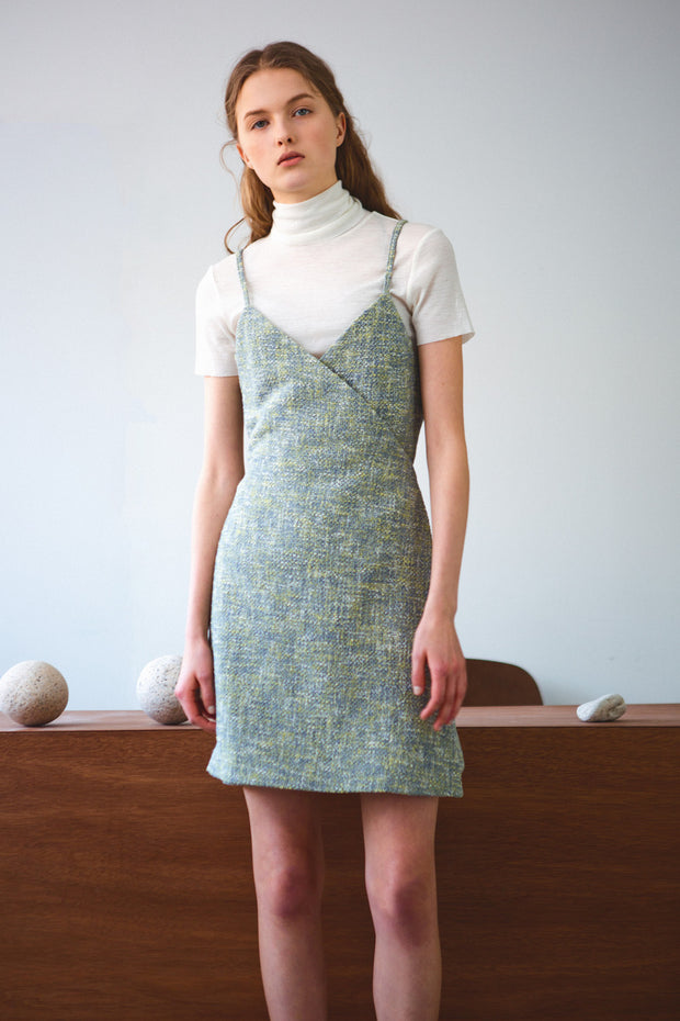 [LETQSTUDIO] Tweed Wrap Dress_Green