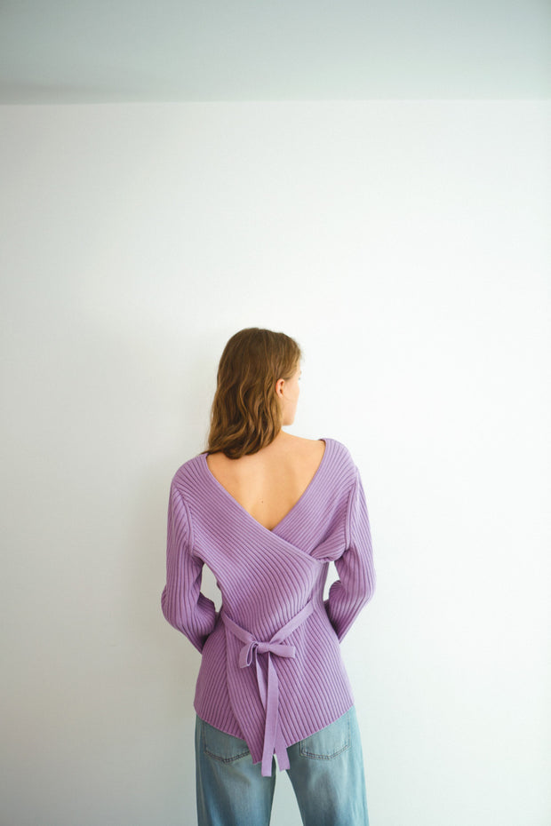 [LETQSTUDIO] Cotton Crossover Knit_Lavender