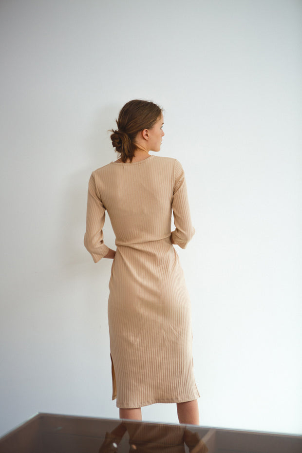 [LETQSTUDIO] Wrap Jersey Dress_Beige