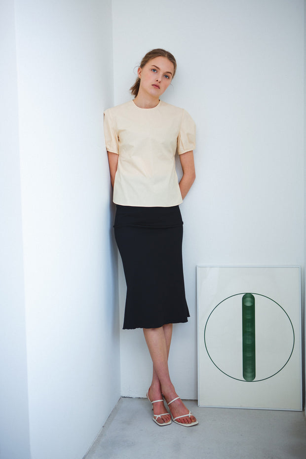 [LETQSTUDIO] Layered Rib Skirt_Black