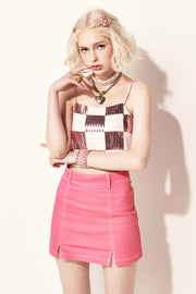 [VVV] Contrast Stitch Denim Skirt in Pink