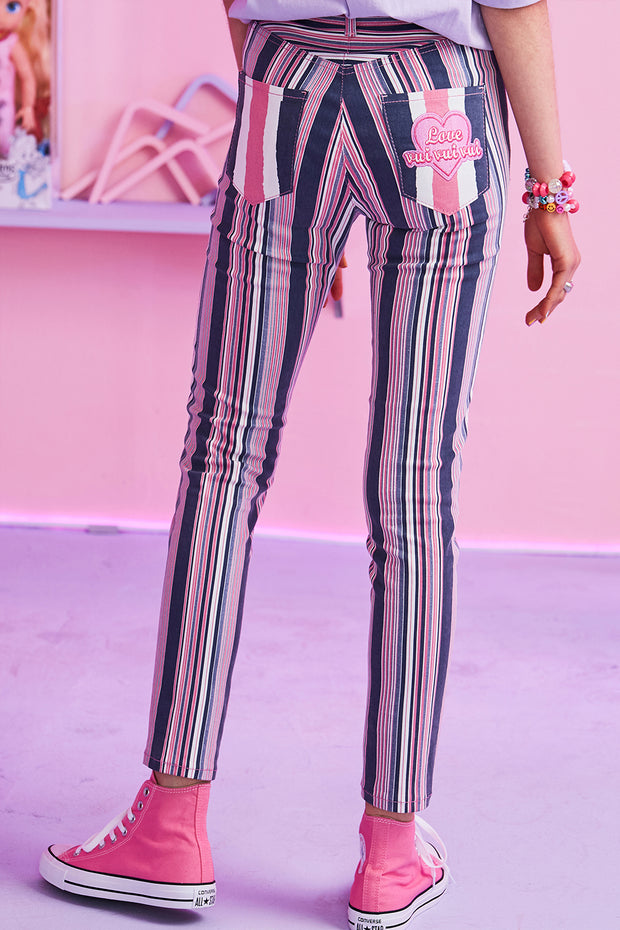 [VVV] Multi Striped Sknny Jeans